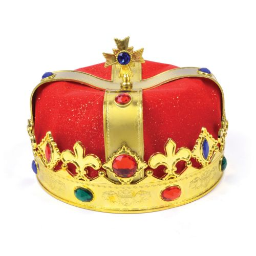 King Hat Gold Plastic & Red Velvet Royal Regal Medieval Ruler Fancy Dress